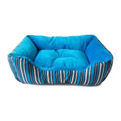 Aleko Soft Plush Pet Cushion Crate Bed Mat Color: Blue Stripes