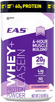 EAS® Whey + Casein Strawberry Protein Powder 2 lb. Canister
