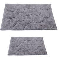 Textile Decor Castle 2 Piece 100% Cotton Palm Spray Bath Rug Set, 24 H X 17 W and 40 H X 24 W, Silver
