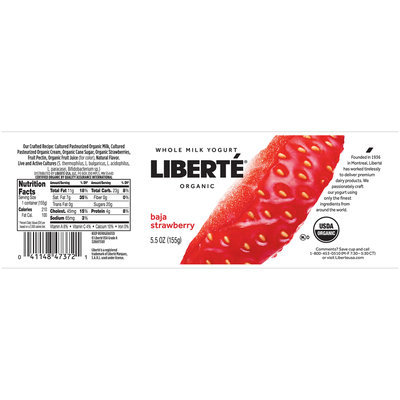 Liberte® Baja Strawberry Organic Whole Milk Yogurt