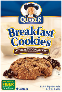 Quaker Oatmeal Chocolate Chip 6 Ct Breakfast Cookies  10.1 Oz Box