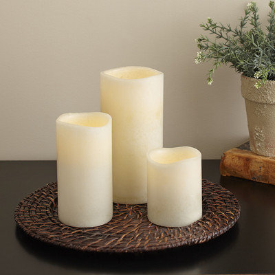 Birch Lane Ivory Flameless Pillar Candle Size: Small, Color: Smooth Ivory