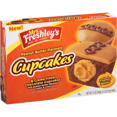 Mrs. Freshly's® Peanut Butter Flavored Cupcakes 6-2 oz. Box