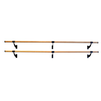 Vitavibe Wall Barre Series Traditional Wood Double Bar Fixed Height Ballet Barre Kit Size: 8 ft.