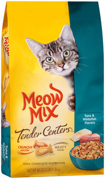 Meow Mix Tender Centers Tuna & Whitefish Flavors Dry Cat Food, 3-Pound