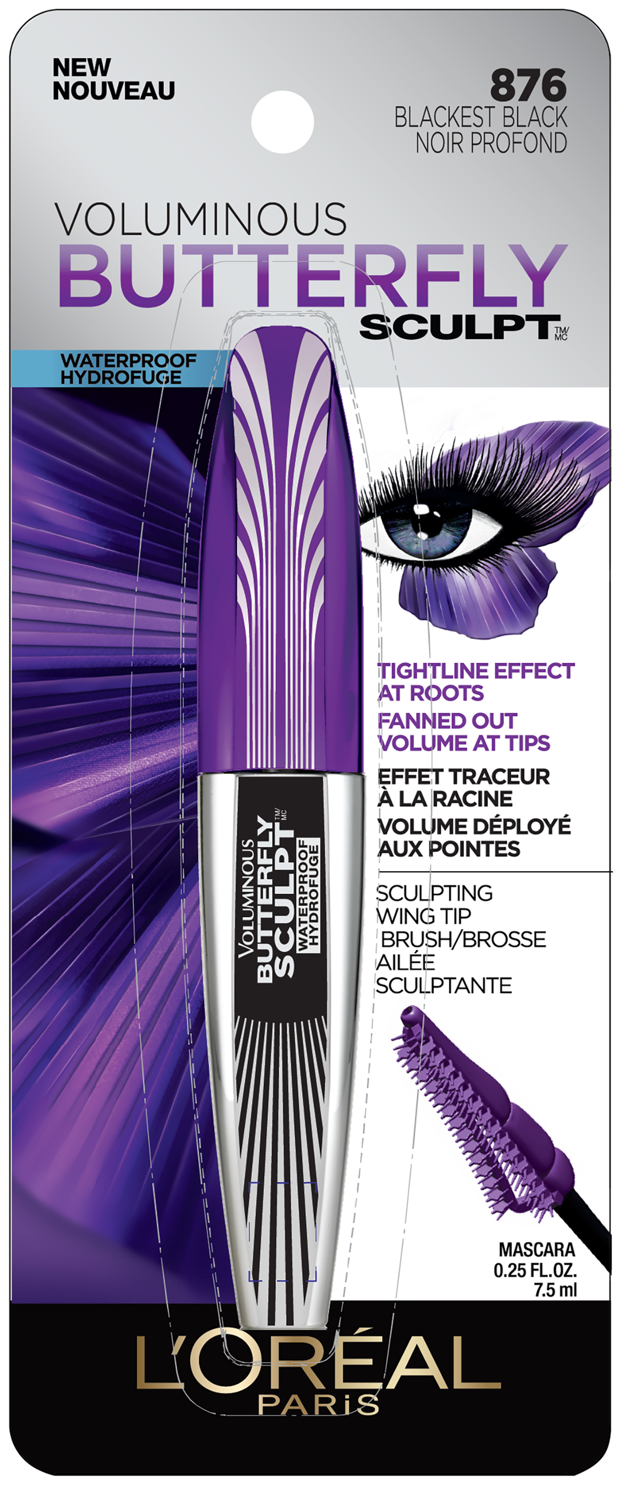 L'Oréal Paris Voluminous Butterfly Sculpt™ Waterproof Mascara 876 Blackest Black 0.25 fl. oz. Carded Pack