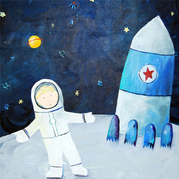 Cici Art Factory Wit & Whimsy Man on the Moon Canvas Art