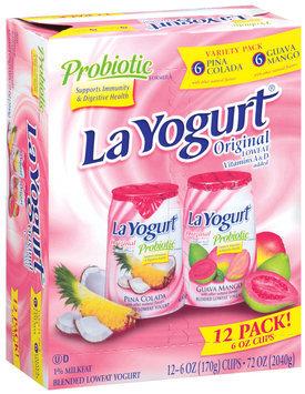 La Yogurt Probiotic Pina Colada & Guava Mango Blended Lowfat Yogurt 6 Oz Cups Original Variety Pack 12 Pk Box