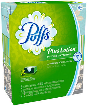 Plus Puffs Plus Lotion Facial Tissues, 3 Family Boxes, 116 Tissues per Box