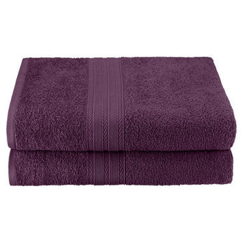 Simple Luxury Superior Bath Sheet (Set of 2), Eggplant