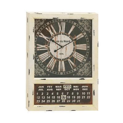Benzara 52539 Vintage Styled Metal Calendar Clock