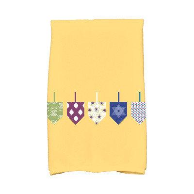 E By Design Hanukkah Doodled Dreidels Hand Towel Color: Yellow