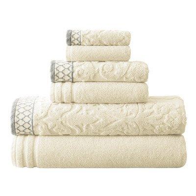 August Grove 6-Piece Jacquard Cotton Towel Set Color: Ivory