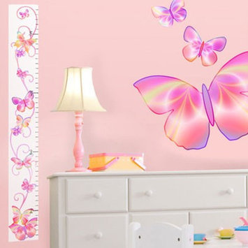 4 Walls Fluttering Growth Chart Peel & Stick Color: Pink