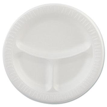 Dart Container Company Dart Foam Plastic Plates, 9 inches, White, Round, 3-Compartments