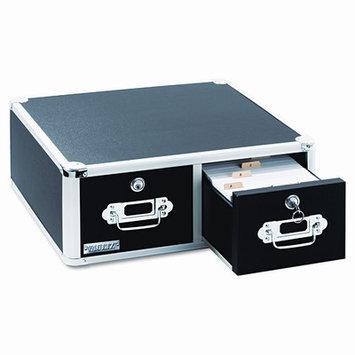 IdeaStream Vaultz Locking 3,000-Index Card Box, 3 x 5, Black