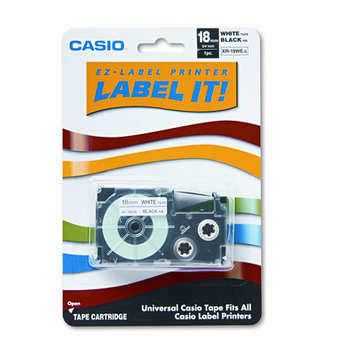 Casio Tape Cassette for EZ-Label KL100/780/7200/8100/c500, 3/4w, Black on White