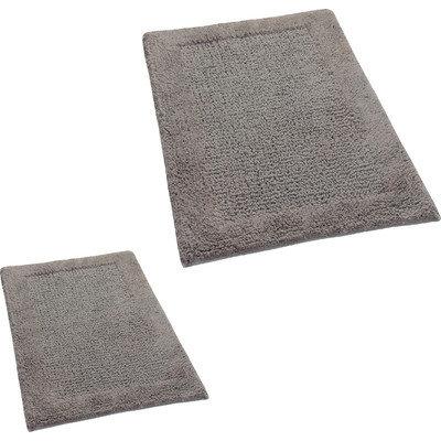 Textile Decor Castle 2 Piece 100% Cotton Naples Spray Latex Bath Rug Set, 24 H X 17 W and 34 H X 21 W, Stone