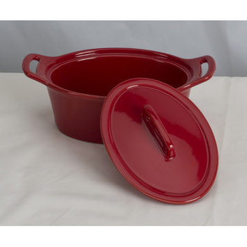 Omniware Stoneware Oval Casserole Color: Red, Size: Large