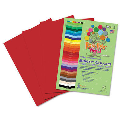 Roselle Paper Co 73801 Premium Sulphite Construction Paper 76 Lbs. 9 X 12 Scarlet 50/pack