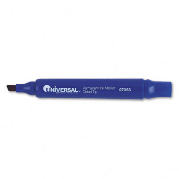 Universal Products Universal Office Products 07053 Permanent Markers Chisel Tip Blue Dozen