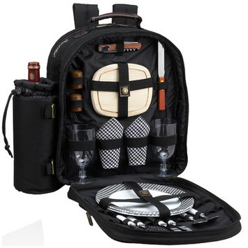Picnic at Ascot Classic Picnic Backpack for Two, Black