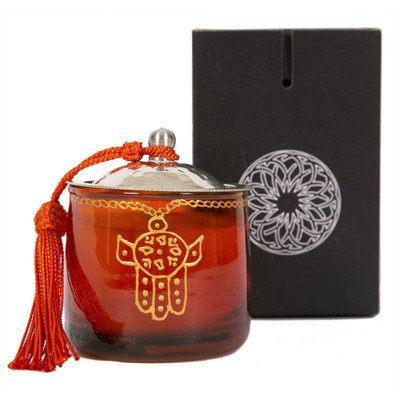 Casablanca Market Moroccan Khamsa Jar Candle Color: Orange