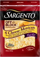 Sargento® Off the Block 4 Cheese Mexican Fine Cut Shredded Cheese 32 oz. Bag