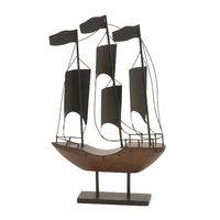 Benzara 92670 Metal Wood Sailboat