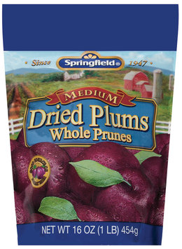 Springfield Medium Whole Prunes Dried Plums 16 Oz Bag