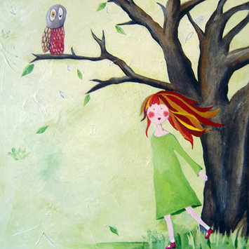 Cici Art Factory Wit & Whimsy Who Who Owl Canvas Art