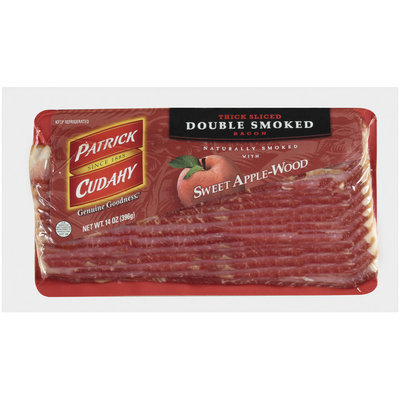 PATRICK CUDAHY Retail Thick Sliced Double Smoked Sweet Apple-Wood Smoked 12ct/14oz Bacon - Retail   PACKAGE