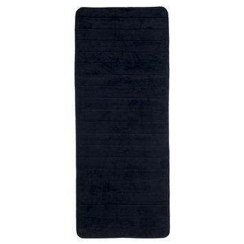 Lavish Home Extra Long Striped Memory Foam Bath Mat Color: Black