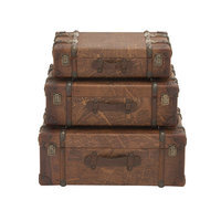 Benzara 14841 Wood Polyurethane Leather Case Set of 3