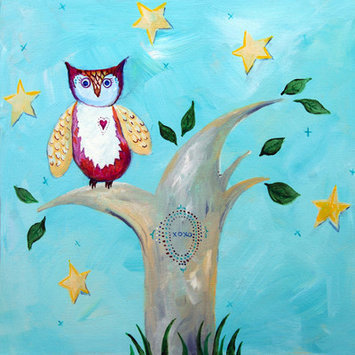 Cici Art Factory Patchwork Night Owl Paper Print by Liz Clay