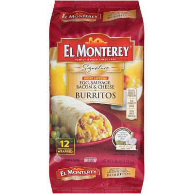 El Monterey® Signature Meat Lovers Egg, Sausage, Bacon & Cheese Burrito 3.38 lb. Bag