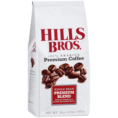 Hills Bros. 100% Arabica Premium Blend Whole Bean Premium Coffee 32 oz. Bag