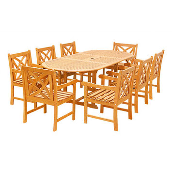 Vifah 9-piece Outdoor Dining Set With Oval Table