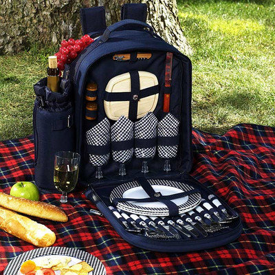 Picnic at Ascot - Picnic Backpack for Two with Blanket - Navy/White