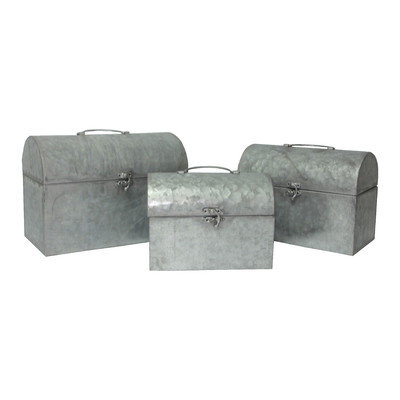 Cheung's Rattan Imports Set of 3 Galvanized Metal Round Top Container