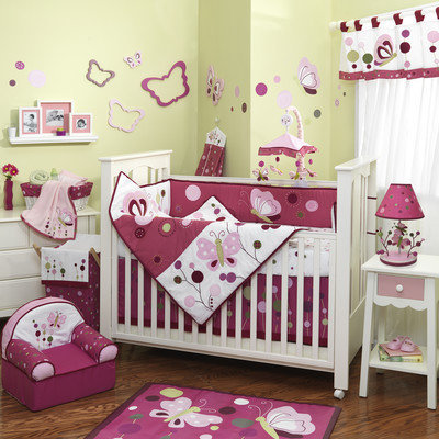 Lambs & Ivy Raspberry Swirl 5-Piece Crib Bedding Set