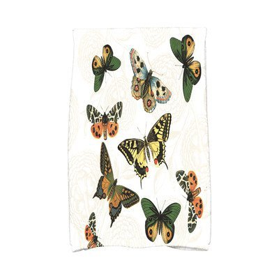 August Grove Sun Valley Antique Butterflies and Flowers Print Hand Towel Color: White