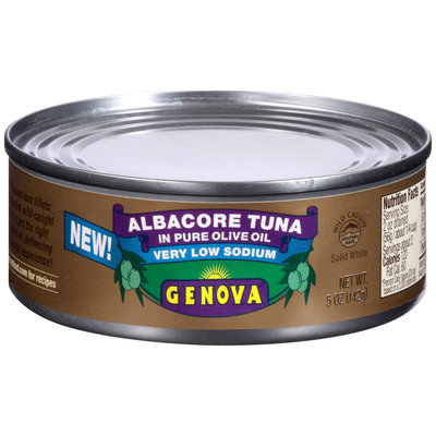 Genova® Very Low Sodium Albacore Tuna In Pure Olive Oil  5 oz. Can