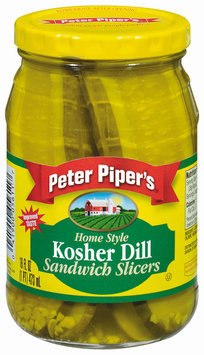 Peter Piper's Home Style Kosher Dill Sandwich Slicers Pickles 16 Oz Jar