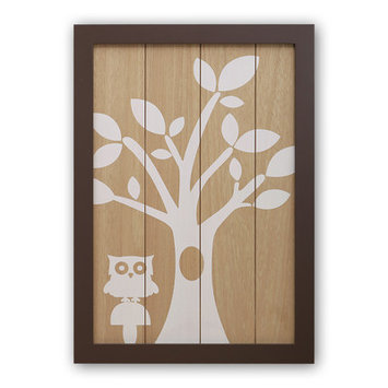 Farallon Brands Farallon Peanut Shell Framed Art Featuring Woodland Silhouetted Design - 14 Inches x 20 Inches