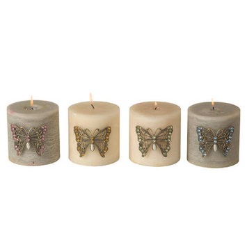 Wilco Imports, Candle Pins, Butterfly, Set of 4, 2.75-inches x 0.6-inches x 2.25-inches