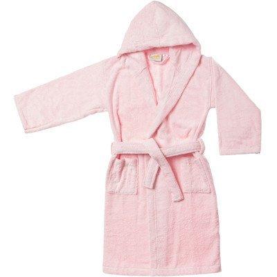 Simple Luxury Egyptian Cotton Kids Hooded Bathrobe, Large, Pink