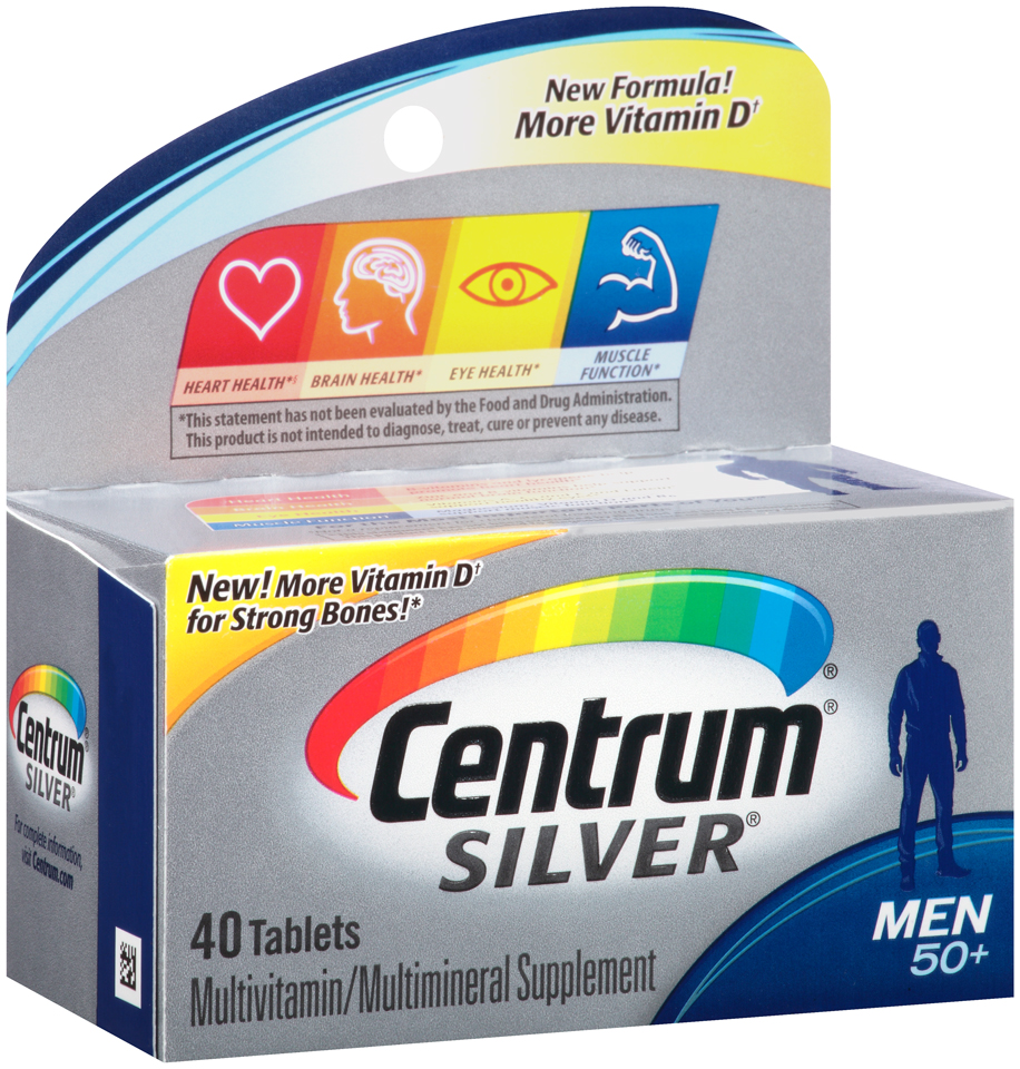Centrum® Silver® Men 50+ Multivitamin/Multimineral Supplement Tablets 40 ct Box