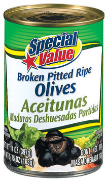 Special Value Broken Pitted Ripe Olives 5.75 Oz Can
