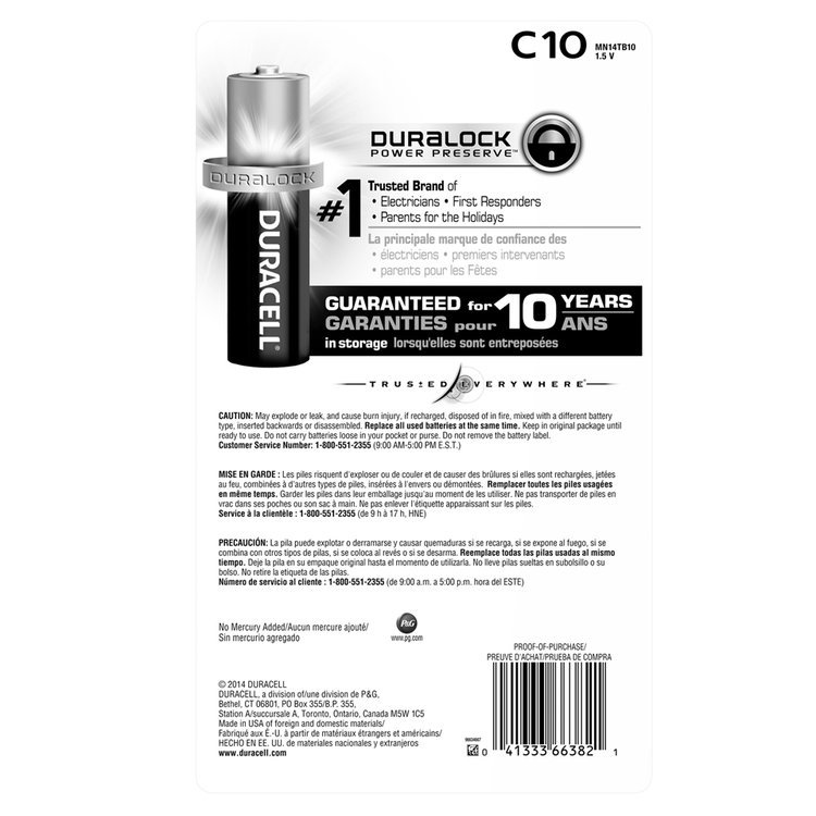 Duracell Coppertop C Alkaline Batteries 10 count